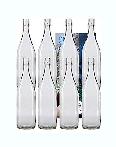 hen Bügelflasche Glasflaschen mit Bügelverschluss 1L 1000 ml Typ A zum Selbstbefüllen Vitrea ()