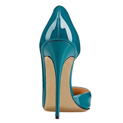 MERUMOTE Damen Y-018 Slip-On Pointed-toe High Heel Dame Dress Pumps Designer Schuhe EU 35-46 Teal-Lackleder