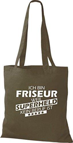 Shirtstown Sac en tissu Ich bin Coiffeur, parce que Superheld aucun Occupation est Olive