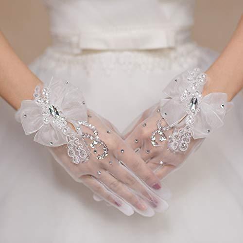 12shage Damen Hochzeit Handschuhe, Netzhandschuhe Handschuhe Satin Braut Spitze Opera Fest Party Handschuhe Damen Kostüm Brautaccessoires