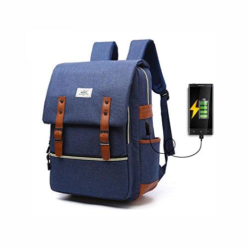 YaXuan Laptop Rucksack Wasserbeständigkeit Business College Rucksack USB Lade Reise Outdoor Wandern Tasche Rucksack 13 Zoll Notebook Frauen College Wind (Farbe : 2) (Gepolsterte Notebook-abschnitt)