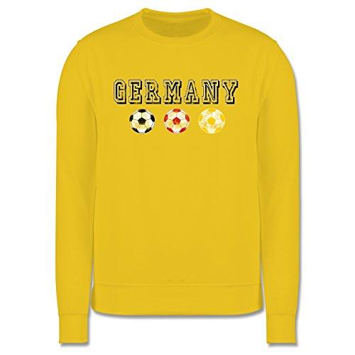 EM 2016 - Frankreich - Germany mit Fußbälle Vintage - Herren Premium Pullover Gelb