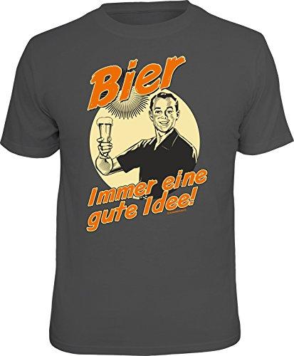 Grau: Original RAHMENLOS® T-Shirt für den Bier-Liebhaber: Bier, immer eine gute Idee. Größe M, Nr.1543 (Bier Trinken-shirt)