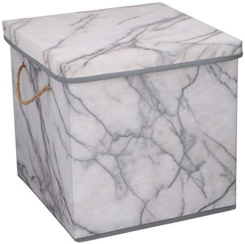 UrbanDesign Aufbewahrungsbox Aufbewahrung Lagerung Box Kiste faltbar mit Deckel und Trageseil aus Stoff in Marmor Optik (Quader)