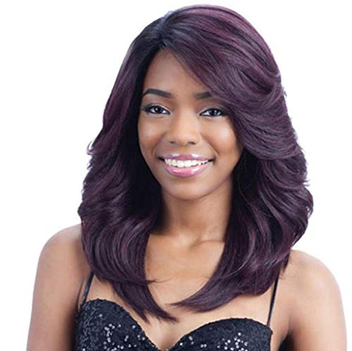 (LYX1,Perücke Haarteile Frauen schwarz und lila gemischte Farben Modelle Lange lockige Haare Mode realistische Qualität)