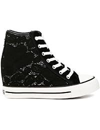 e9be4250b3 CafèNoir Sneakers per Donna in Tessuto Macramè Bianco Zeppa ...