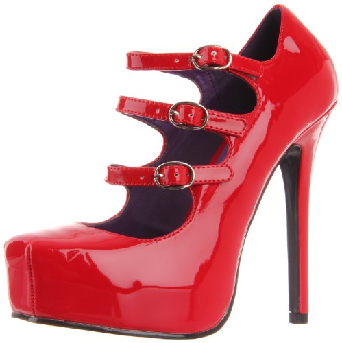 Devious BONDAGE-03- Damen Plateau Pumps Red pat