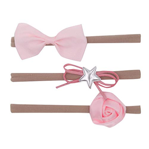 Koojawind Kinder Haarschmuck - 3Pcs Kids Infant Baby MäDchen Bow Knot Hairband Haarschmuck Set Haarspangen, Bow Knot + Star + Rose Styles Stirnband (Bow Stirnband Red)