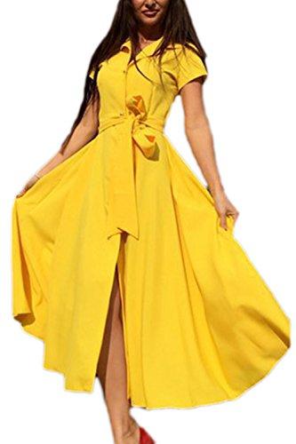 Élégantes Swing Party Dress des femmes avec ceinture yellow