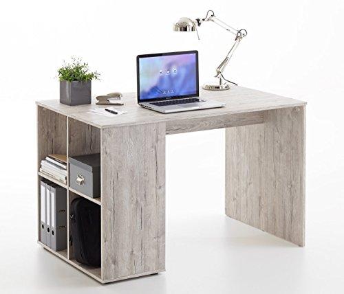 Schreibtisch, Bürotisch, Tisch, Regal, Arbeitstisch, PC-Tisch, Arbeitsplatz, Computertisch, Büro-Arbeitsplatz, in Sandeiche-NB, 4 Ablagefächer (Arbeitsplatz-tisch)