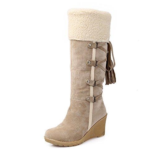 HAINE Frauen Klassische Herbst Winter Schuhe Wedges High Heel Mitte der Wade Stiefel (Beige Größe 37.5 EU) -