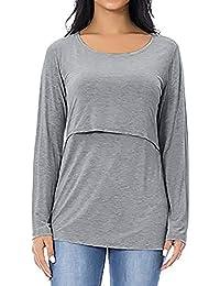 SamMoSon Mujeres Maternidad Enfermería Tops Confortable Manga Larga Amamantamiento Camiseta Sujetadores y de Lactancia para Ropa Dormir Camisones Camisetas Trajes baño