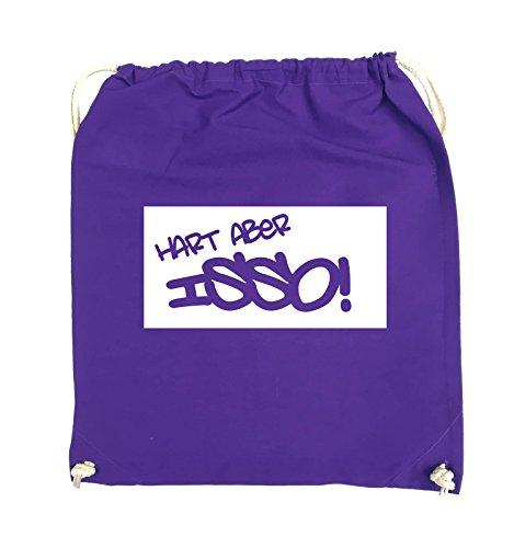Comedy Bags - HART ABER ISSO! - Turnbeutel - 37x46cm - Farbe: Schwarz / Pink Lila / Weiss