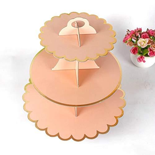 Hi-Smile 3-Tiered Cupcake Stand - Karton Dessert Stand Runde Cupcake Tower für Babypartys, Hochzeiten, Geburtstage