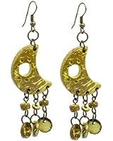 Lady Yellow Moon Shape Wooden Pendant Bronze Tone Hook Earrings Pair
