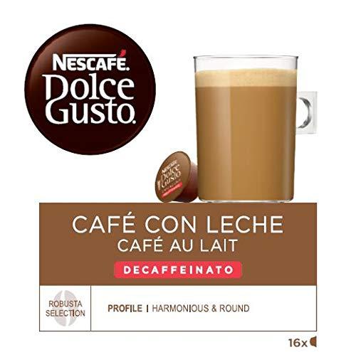 NESCAFÉ Dolce Gusto Café con leche descafeinado | Pack de 3 x 16 Cápsulas - Total: 48 Cápsulas...