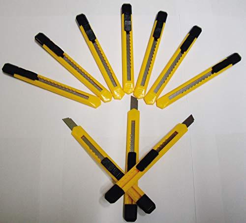 Cuttermesser 9 mm I Packmesser I Kartonmesser I 10 x Teppichmesser mit Abbrechklingen I gelb I Unter...