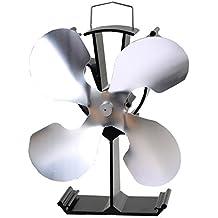 Ventilador de 4 hojas con calefacción para estufa de leña Estufa de leña con quemador de leña - Ventilador ecológico y eficiente (Níquel)