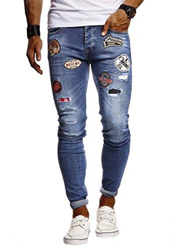 Leif Nelson Herren Jeans Hose Stretch Slim Fit Denim Blaue Lange Jeanshose für Männer Coole Jungen weiße Freizeithose Schwarze Cargo Chino Sommer Winter Basic LN9275; W29L30, Blau