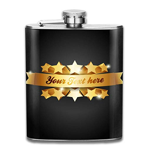 Miedhki Metallic Star is Lacy Outdoor Portable 304 Stainless Steel Leak-Proof Alcohol Whiskey Liquor Wine 7OZ Pot Hip Flask Travel Camping Flagon for Man Woman Flask Great Little Gift