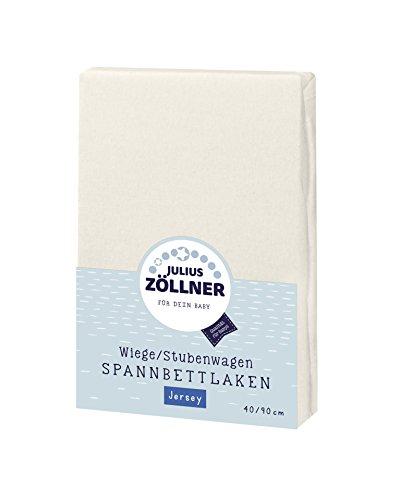 Julius Zöllner 8330147540 Jersey Spannbetttuch für Wiegen 90x40 und Stubenwagen, Farbe: ecru