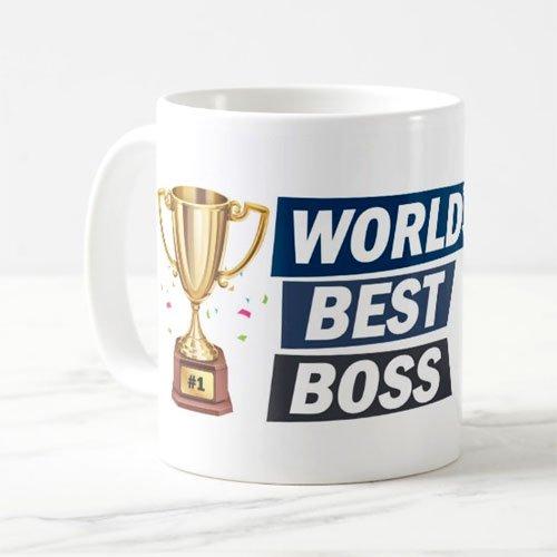 exciting Lives Worlds Best Boss Printed Ceramic Mug (330ml, Multicolour)