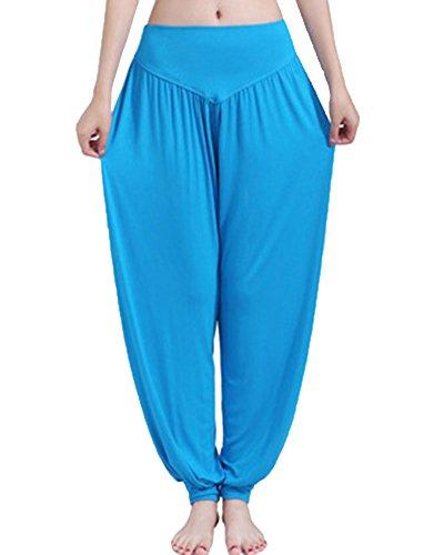 Donne Elastico Yoga Pantaloni Pilates Fitness Jogging Allenamento Harem Calzoni Lago Blu