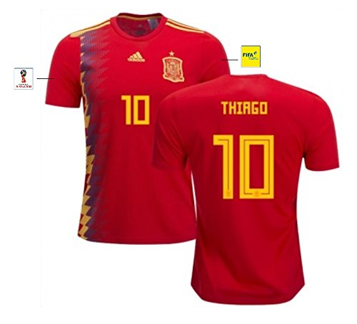Spanien Heim Fußball Trikot (Trikot Herren Spanien WM 2018 Home - Thiago 10 (S))