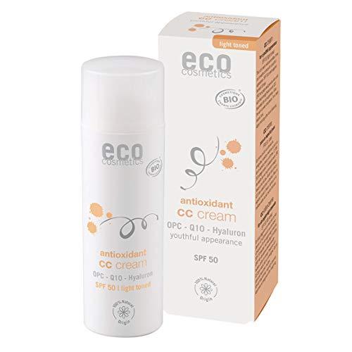 eco cosmetics Bio CC Cream light, Tagescreme getönt hell mit OPC, Q10 und Hyaluronsäure, vegane Anti Faltencreme, LSF 30