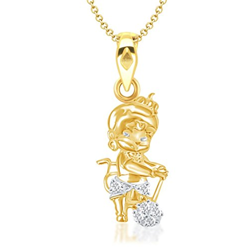VK Jewels Bal Hanuman Gold and Rhodium Plated Kids Pendant - P1265G [VKP1265G]