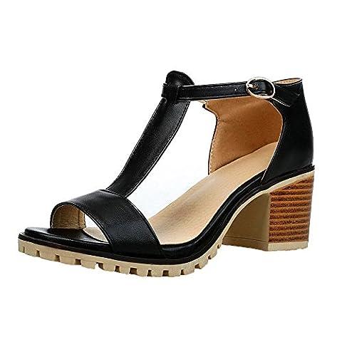AalarDom Womens Buckle Open-Toe Kitten-Heels PU Sandals, Black-G2, 33
