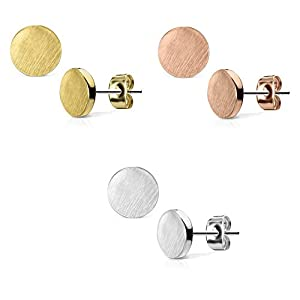 beyoutifulthings Damen 1 Paar Ohringe Ohrringe Set Stecker Edelstahl Chirurgenstahl Rund Round gebürstet Top silber roségold gold