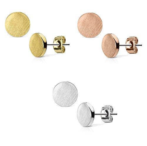 en 1 Paar Ohringe Ohrringe Set Stecker Edelstahl Chirurgenstahl Rund Round gebürstet Top silber roségold gold ()