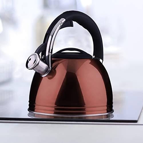 DecoKing 51559 Hervidor con Silbato 2,5L Acero Fino Mango Tapadera Cocina de Gas Cocina Eléctrica Placa de Inducción Rojo Cobre Firenze