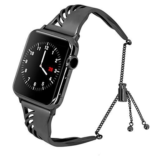 XNBZW Kompatibel für Apple Watch Band 38mm 40mm iWatch Serie 4, Serie 3, Serie 2, Serie 1, Durchbrochene Schnitzerei Edelstahl Metall Armband(Schwarz) (Tommy Hilfiger Watch Orange)