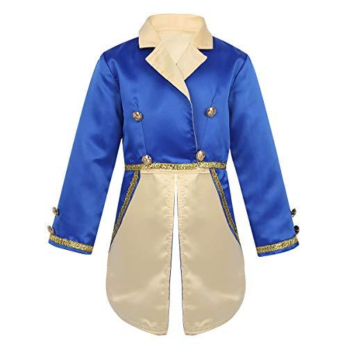 Agoky Jungen Prinz Kostüm Jacke Blaue Tops Outwear Kinderkostüm Halloween Fasching Karneval Verkleidung Party Outfits Blau 92-98/2-3 - Prinz Kostüm 2 3 Jahre