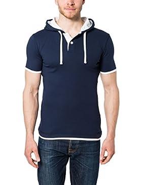 Lower East Herren T-Shirt mit Kapuze und Knopfleiste