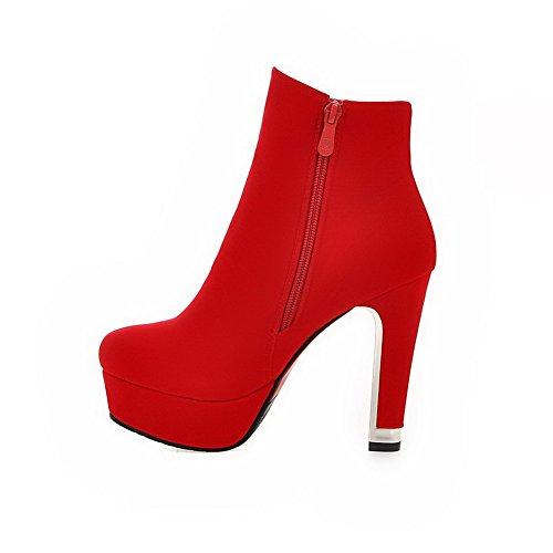AllhqFashion Damen Hoher Absatz Naht Rund Zehe Nubukleder Reißverschluss Stiefel, Rot, 41