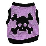 Aeici Hundebekleidung Hundebekleidung Baumwolle Light Purple Printed Weste Pet Weste Frühling Sommer Modelle XS