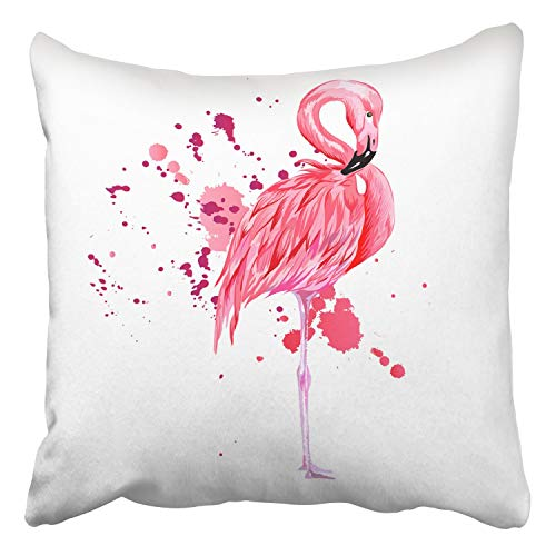 RAINNY Throw Pillow Covers Pink Flamingo Watercolor Splashes Colorful Paint Drops Beautiful Isolated Decor Pillowcases Polyester Square Hidden Zipper Home Cushion Decorative Pillowcase 18x18 inch Cover Pink Splash