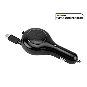 Professional Retractable Huawei Mate 10 Pro 3A Car Charger with One-Touch Rapid Button System! (15 Watts/Black)