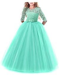 e4ea1742c IWEMEK Vestidos de Princesa Fiesta de la Boda de Las Niñas 3 4 Largo Manga Tul  Vestidos de Dama De Honor Fiesta…
