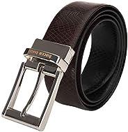 Bacca Bucci Men's Reversible Classic Dress belt Italian Top Grain Genuine leather black & brown with r