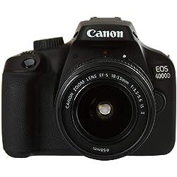 Canon EOS 4000D BK 18-55 is EU26 Boîtier d'appareil-Photo SLR 18 MP 5184 x 3456 Pixels Noir - Appareils Photos numériques (18 MP, 5184 x 3456 Pixels, Full HD, 436 g, Noir)