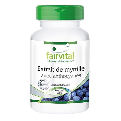 Extrait de myrtille avec anthocyanes 90 capsules molles - Vaccinium myrtillus - pour les yeux et la microcirculation