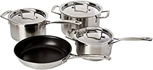 Le Creuset 3-Ply Stainless Steel Saucepan Set, 4 Piece - Silver