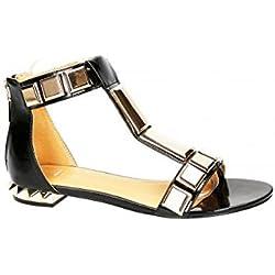 Schuhzoo - Damen Designer Sandaletten Sandalen Sommer Schuhe Applikation Gr. 36-41-Schwarz-38