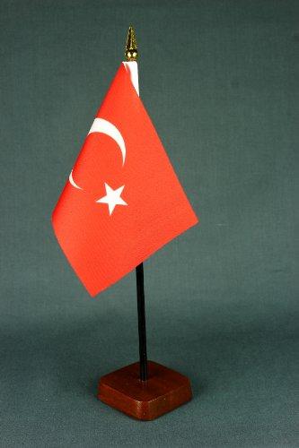 Kleine Tischflagge Türkei 15x10 cm mit Tischflaggenständer 30 cm aus Holz, sehr standfest (Türkei 10)