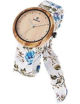 Redear Elegante Damen Holzuhr beiläufige leichte natürliche handgemachte hölzerne Uhr mit Blumen-Tuch Bügel Japanische...