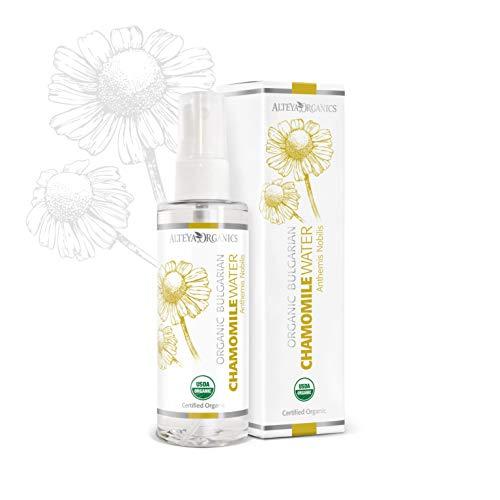 Alteya Organic Pulvérisateur d'eau de camomille 100 ml - Certifié organique par USDA Pure Bio Eau Naturelle Florale Distillé à la vapeur à partir de fleurs fraîches cueillies à la main de Matricaria Chamomilla - Éclairant, Hydratant, Apaisant et Calmant